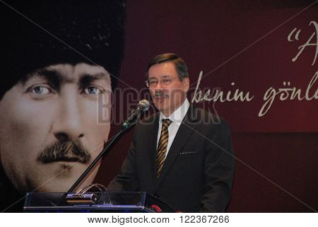 ANKARA/TURKEY-DECEMBER 27, 2013: Turkish politician and Mayor of Ankara Ibrahim Melih Gokcek at the Sheraton Hotel during the official ceremony of Capital City Ankara. December 27, 2013-Ankara/Turkey