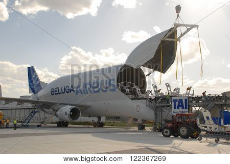 ANKARA/TURKEY- APRIL 29, 2015: Airbus Beluga Transportation Aircraft at the Turkish Aerospace Industry-TAI's apron for loading. April 29, 2015-Ankara/Turkey