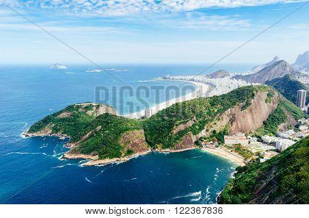 Copacabana and Vermelha Rio de Janeiro aerial view Brazil June 2014