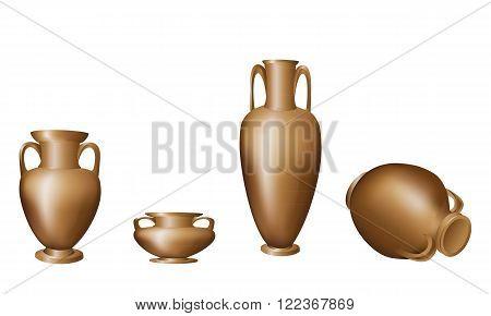 Amphora vase dark clay pattern big little lies on one side of white background