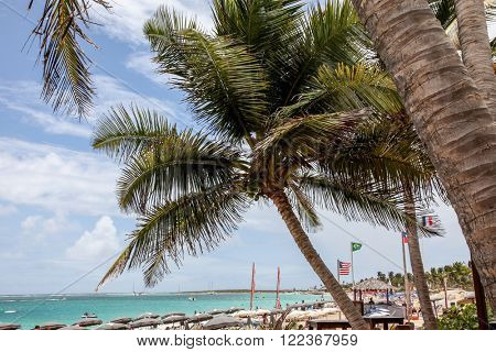 ST.MAARTEN, CARRIBEAN - AUGUST 2: Bikini beach on Orient Bay (Baie Orientale) area  in Sint Maarten inAugust 2, 2015 in St.Maarten, Caribbean Island.