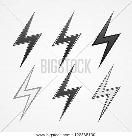 Set of monochrome lightning icons. Signs of lightning - vector illustration.