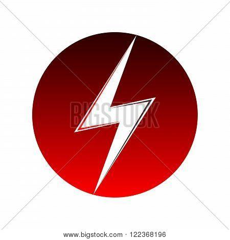 Red lightning icon. Sign of lightning - vector illustration.