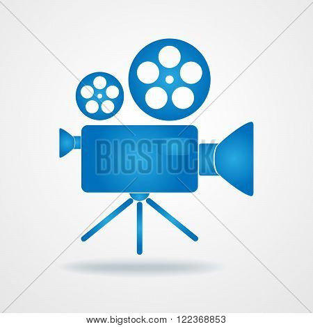 Camcorder icon - vector illustration. Blue icon of movie camera. Flat camcorder symbol.