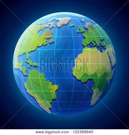 View of globe from space. Earth planet with ocean and continents. Qualitative vector illustration for travel planet Earth geography tourism world map trip cartography etc. It has transparency masks blending modes gradients