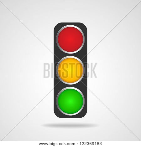 Traffic lights symbol on white background. Black traffic lights - vector illustration. Road sign over white background