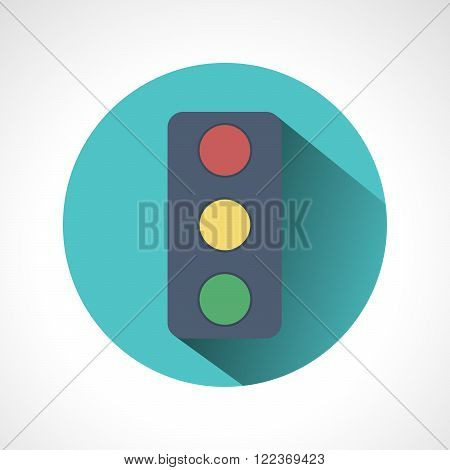 Traffic lights flat icon with long shadow. Vector illustration of stop color lights icon flat round icon. Road sign over white background - vector illustration.