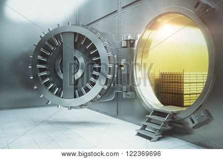 Sideview of an open bank vault with gold stacks. 3D Render