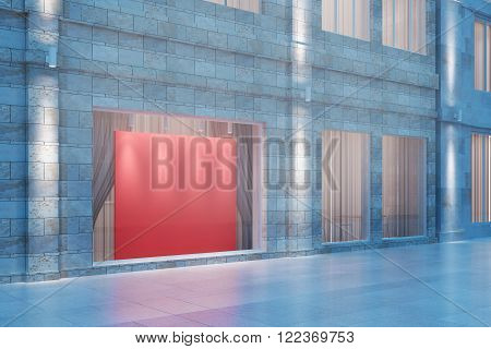 Exterior storefront with blank red billboard at night mock up 3D Render