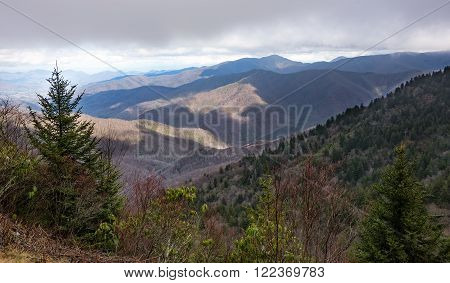Scenic view from the Blue Ridge Parkway of the Smoky Mountains and the Blue Ridge Mountains.