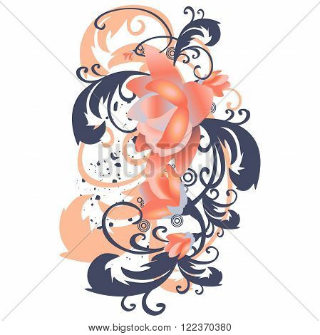 Vector background with roses leaves vertical. Stylized flowers with branches and foliage curled in vintage pastel colors. Abstract floral illustration with text box on white background
