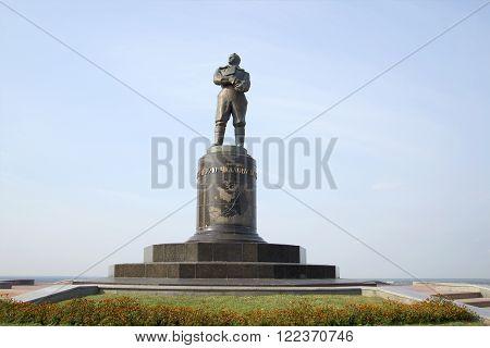 NIZHNY NOVGOROD, RUSSIA - AUGUST 27, 2015: The monument Valery Chkalov in Nizhny Novgorod. The landmark of Nizhny Novgorod