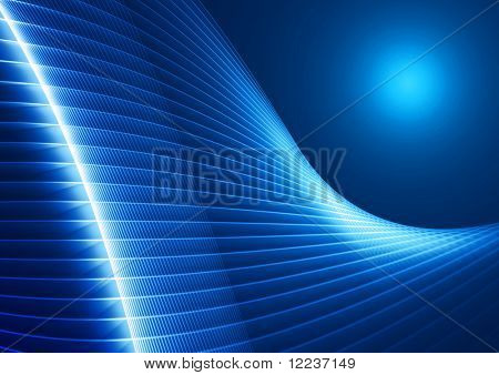 abstract glowing lines in perspective on blue background