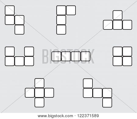 Tetris element set linear design. Block tetris play cube geometric puzzle square building meccano. Vector abstract flat design illustration