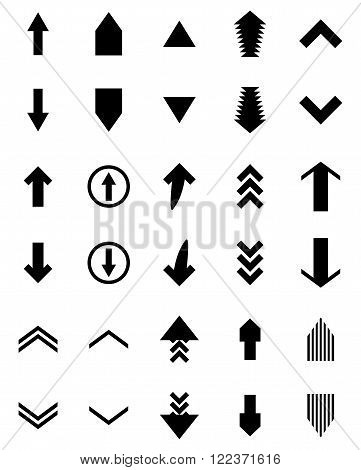 Arrow black up and down upload download. Down and upload download pointer link cursor color arrowhead arrow signpost label navigation black white. Vector abstract flat design illustration