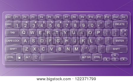 KEYBOARD PC MAC GLASS WHIT SHADOW PURPLE