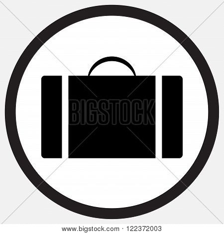 Case icon monochrome black white. Suitcase and case study box and bag briefcase money case travel case folder and safe object black bag sign suitcase. Vector abstract flat design illustration