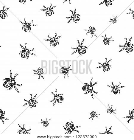 Seamless pattern with hand-drawn spiders. Black and white monochrome spider texture. Spider vector pattern ornament.