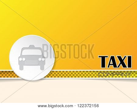 Taxi text on orange background template design with white taxi badge