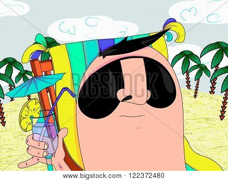 Vector illustration of boy with cocktail drink relaxing on deckchair at beach.