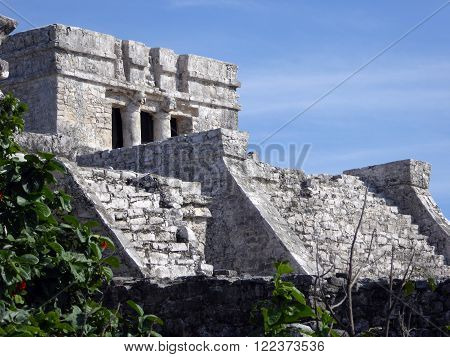 A large stone pyramid in the Tulum archeological site Yucatán Peninsula Mexico.