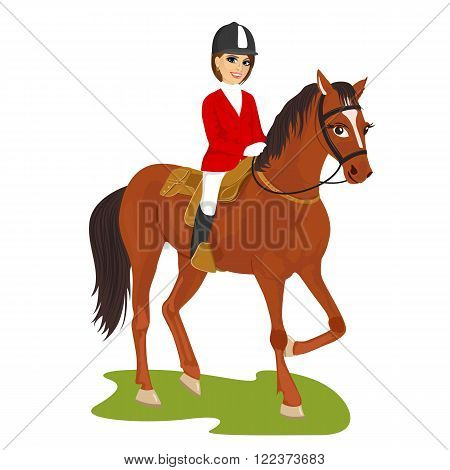 illustration of attractive young woman riding horse isolated on white background