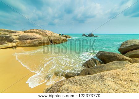 Koh Samui, Thailand. The famous group of stones on the beach of Lamai -