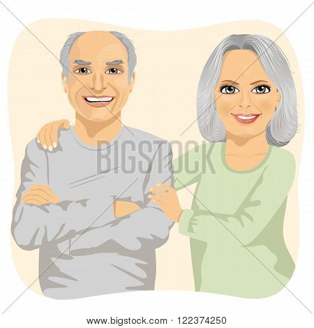 Happy smiling senior couple embracing together isolated
