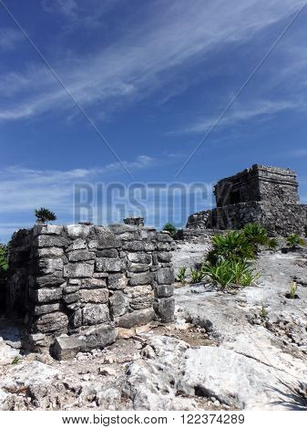 Two temples in the Mayan archeological site of Tulum in the Yucatán peninsula of Mexico.