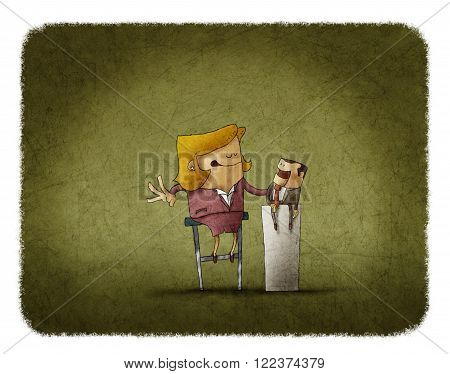 funny illustration of Businesswoman manipulating a puppet