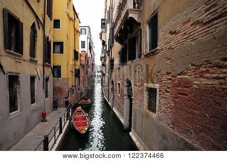 Gondola And Boat At Moorings