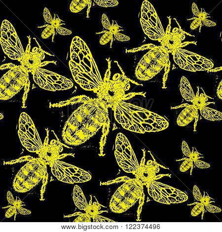 Yellow engraved bee on black background. Engraved pattern