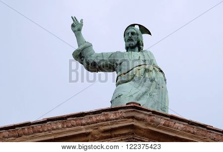 BOLOGNA, ITALY - JUNE 04: Jesus Christ Savior and Redeemer of the World, Church of SS. Salvatore. Bologna. Emilia-Romagna. Italy, on June 04, 2015.