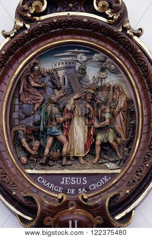 PLETERJE, SLOVENIA - NOVEMBER 06: 2nd Stations of the Cross, Jesus is given his cross, Carthusian monastery in Pleterje, Slovenia on November 06, 2015