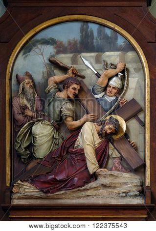 ZAGREB, CROATIA - SEPTEMBER 14: 7th Stations of the Cross, Jesus falls the second time, Basilica of the Sacred Heart of Jesus in Zagreb, Croatia on September 14, 2015