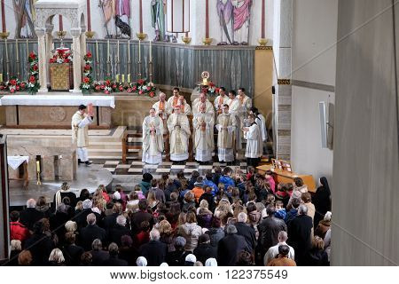ZAGREB, CROATIA - JANUARY 31: Holy Mass, the consecration of the new altar, led by Cardinal Josip Bozanic, archbishop of Zagreb in the church of Saint Blaise in Zagreb, Croatia on January 31, 2015