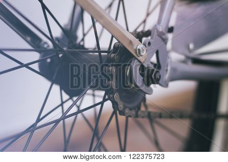 Bicycle Chain And Spokes Close Up