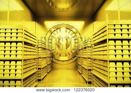 Golden bank vault with gold bars. 3D Render