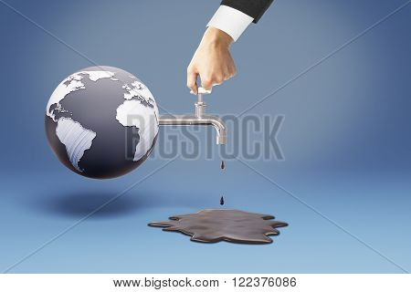 Environmental protection concept with man turning off oil valve connected to a globe. 3D Render