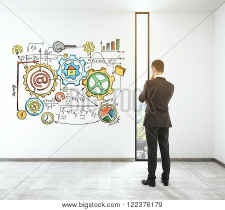 Solution concept with thinking man next to a blackboard with colorful business charts. 3D Render