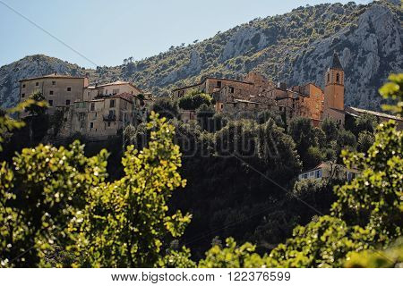 Castle And Buildings On Mountain