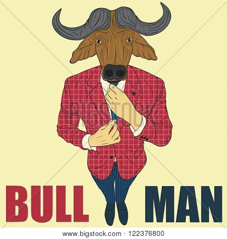 Praying bull. Funny vector illustration. Cartoon character bull