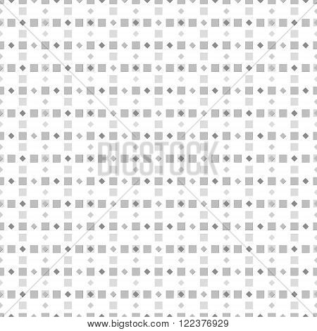 Abstract seamless pattern of numerous small squares. Simple laconic geometric print in white, black, gray colors. Vector illustration for various creative projects