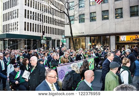 NEW YORK-MARCH 17-The The Lavender and Green Alliance became the first LGBT group to march in the St Patrick's Day Parade in 25 Years on March 17 2016 in New York City.