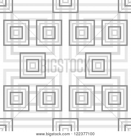 Abstract seamless pattern of squares. Square frames of decreasing sizes placed one inside another. Elegant graphic print in white and gray colors. Vector illustration for modern creative design