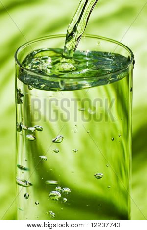 pouring water in grass on green
