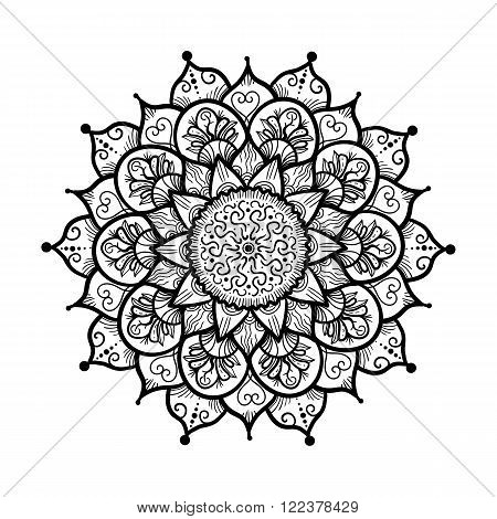Hand drawn Mandala in arabic indian islam and ottoman culture decoration style. Ethnic geometric ornamental background. Magic vintage template of greeting card print cloth tattoo. Vector