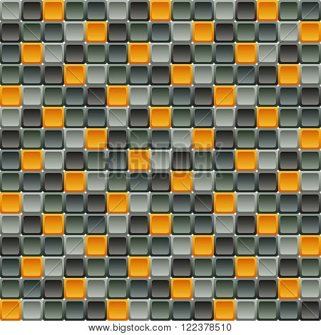 Seamless tile pattern made of rounded squares in shades of gray with contrast orange