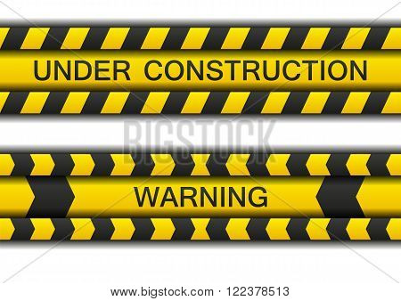 Two warning tapes - under construction and warning with shadow isolated on white