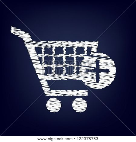 Shopping Cart and add Mark Icon. Chalk effect on blue background